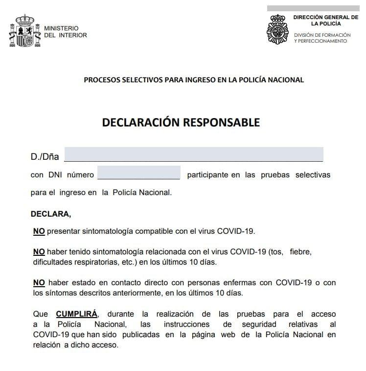 declaracion responsable Examen cnp 2021